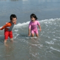Playing in the ocean at York Beach